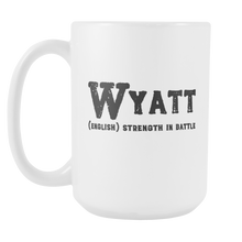 Wyatt Name Meaning Mug - 15oz Coffee Cup - Birthday Gift for Man - Personalized Office Mug - Military Husband Gift Idea - LetterLuxe