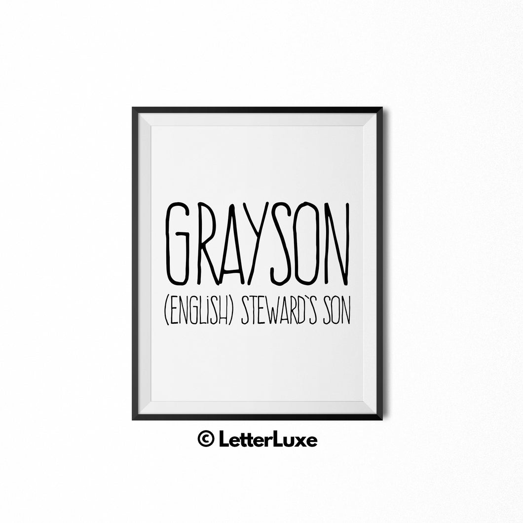 Grayson Printable Kids Gift - Name Meaning Wall Decor - Baby Boy Bedroom Idea - LetterLuxe
