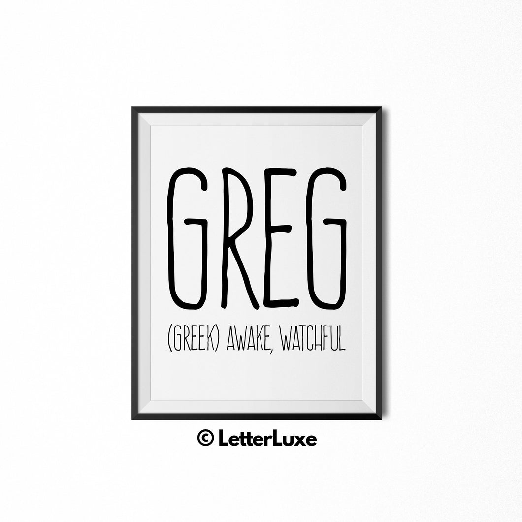 Greg Name Meaning Art - Printable Baby Shower Gift - LetterLuxe
