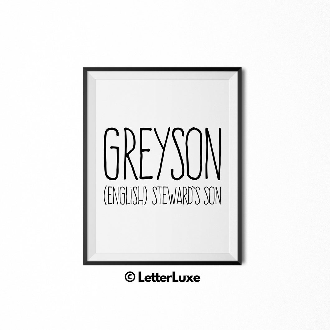 Greyson Printable Kids Gift - Name Meaning Wall Decor - LetterLuxe