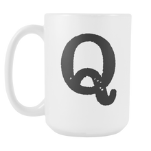 Initial Mug - Letter Q - 15oz Ceramic Cup - Co-Worker Gift Mug - Right-Handed or Left-Handed Mug - LetterLuxe