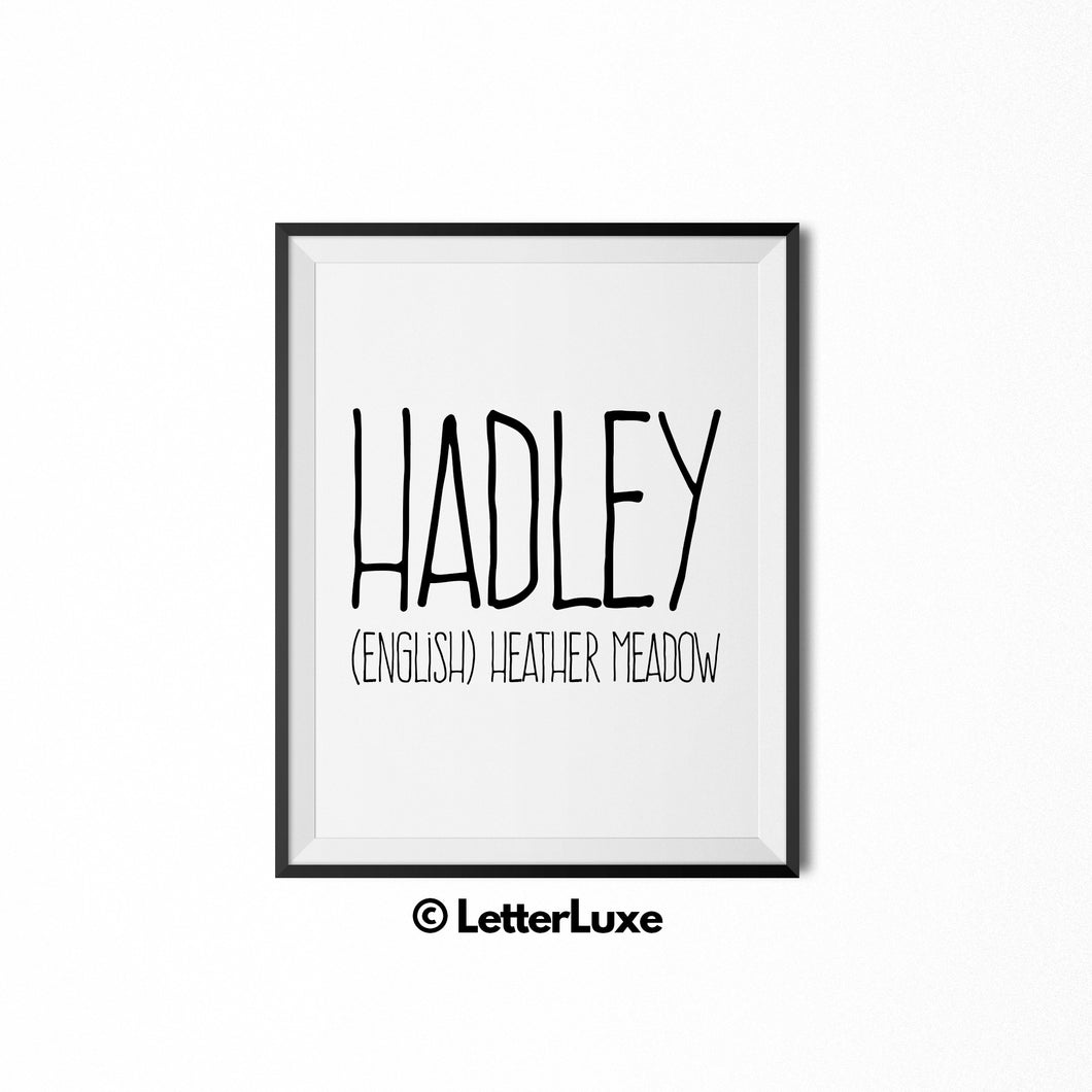 Hadley Name Meaning Wall Art - Typography Wall Decor
