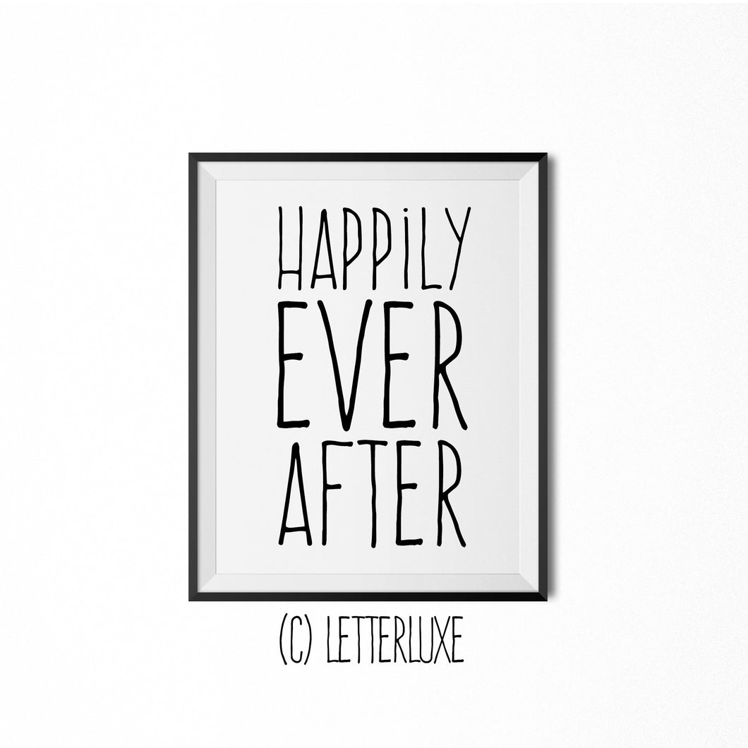 Happily Ever After Poster- Fairytale Bedroom Wall Decoration