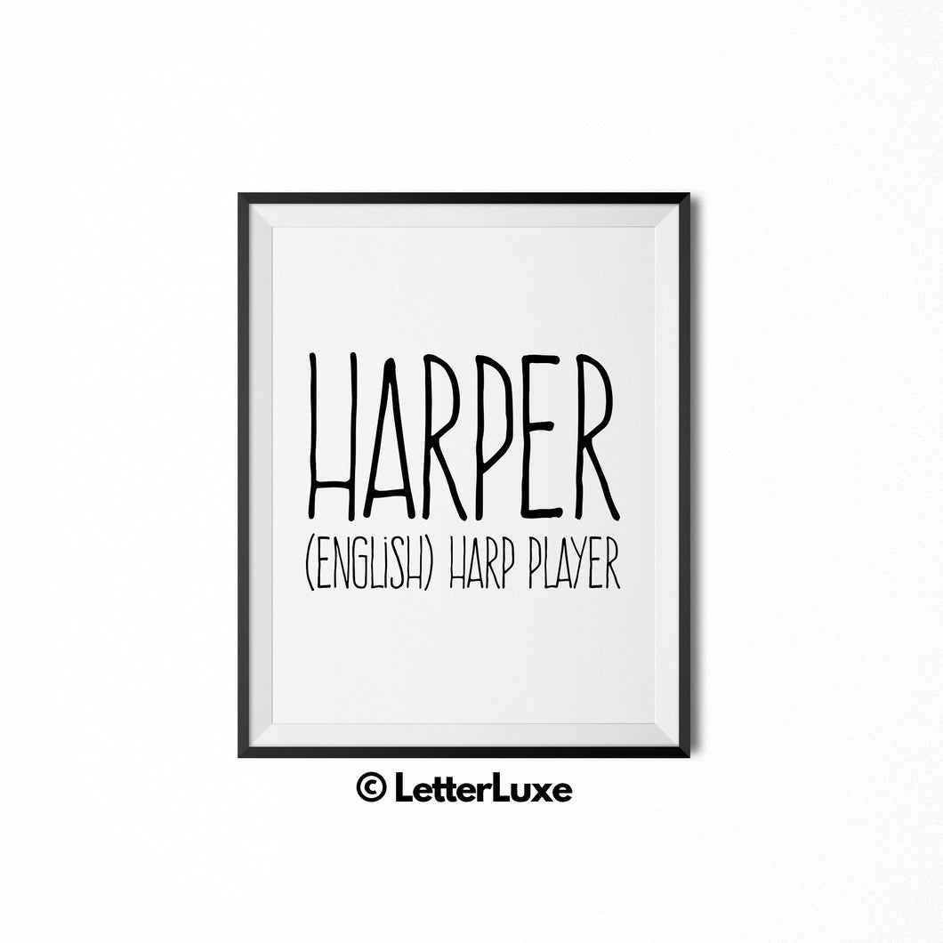Harper Name Meaning Art - Printable Baby Shower Decorations - LetterLuxe