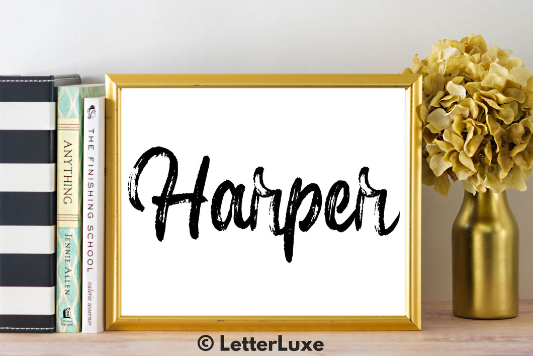 Harper Name Art - Printable Gallery Wall - Romantic Bedroom Decor - Living Room Printable - Last Minute Gift for Mom or Girlfriend - LetterLuxe