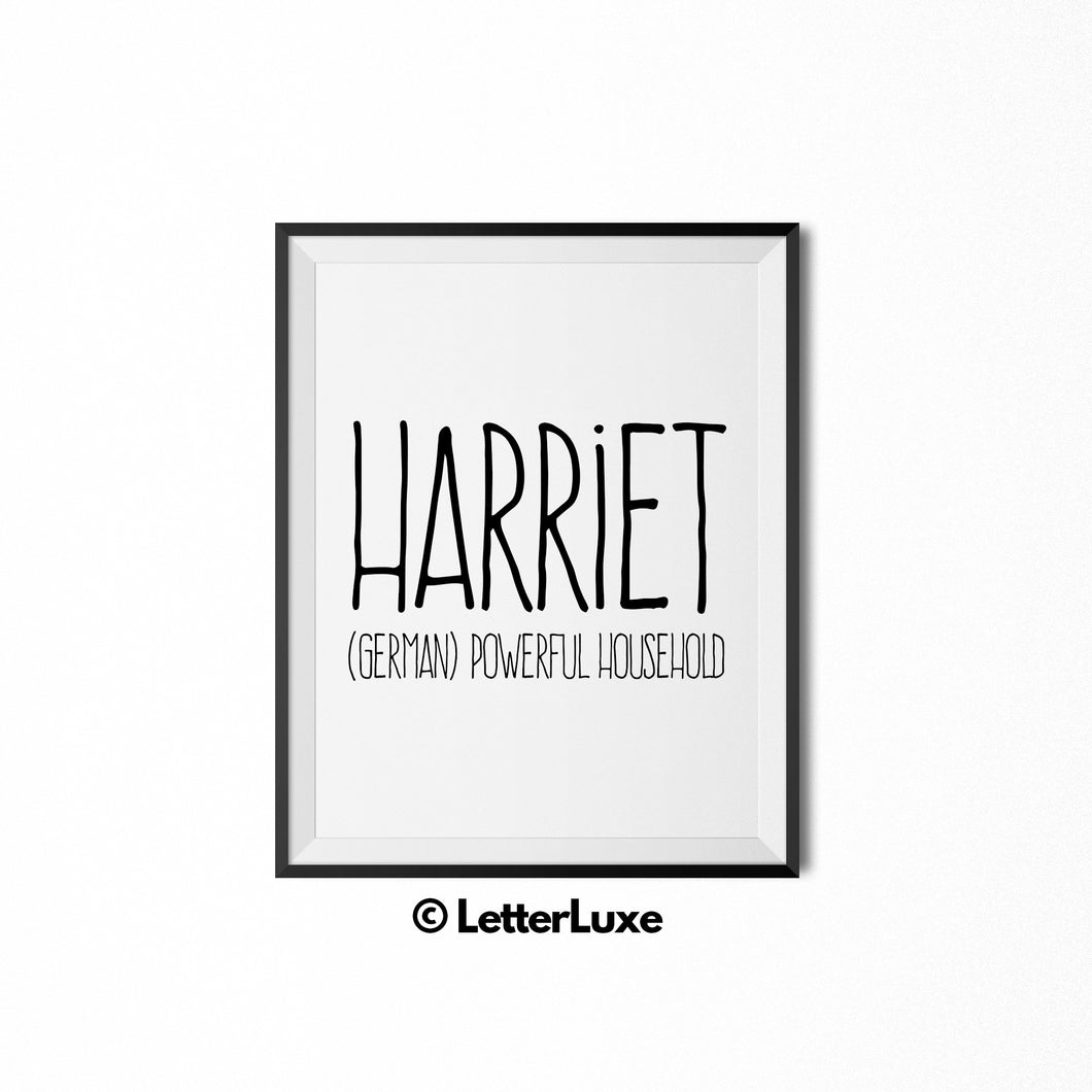 Harriet Name Meaning Wall Art - Nursery Decor for Girls - LetterLuxe
