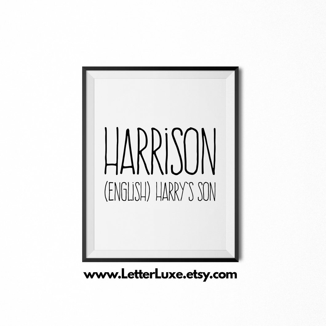 Harrison Printable Gift - Last Name Meaning Art - LetterLuxe