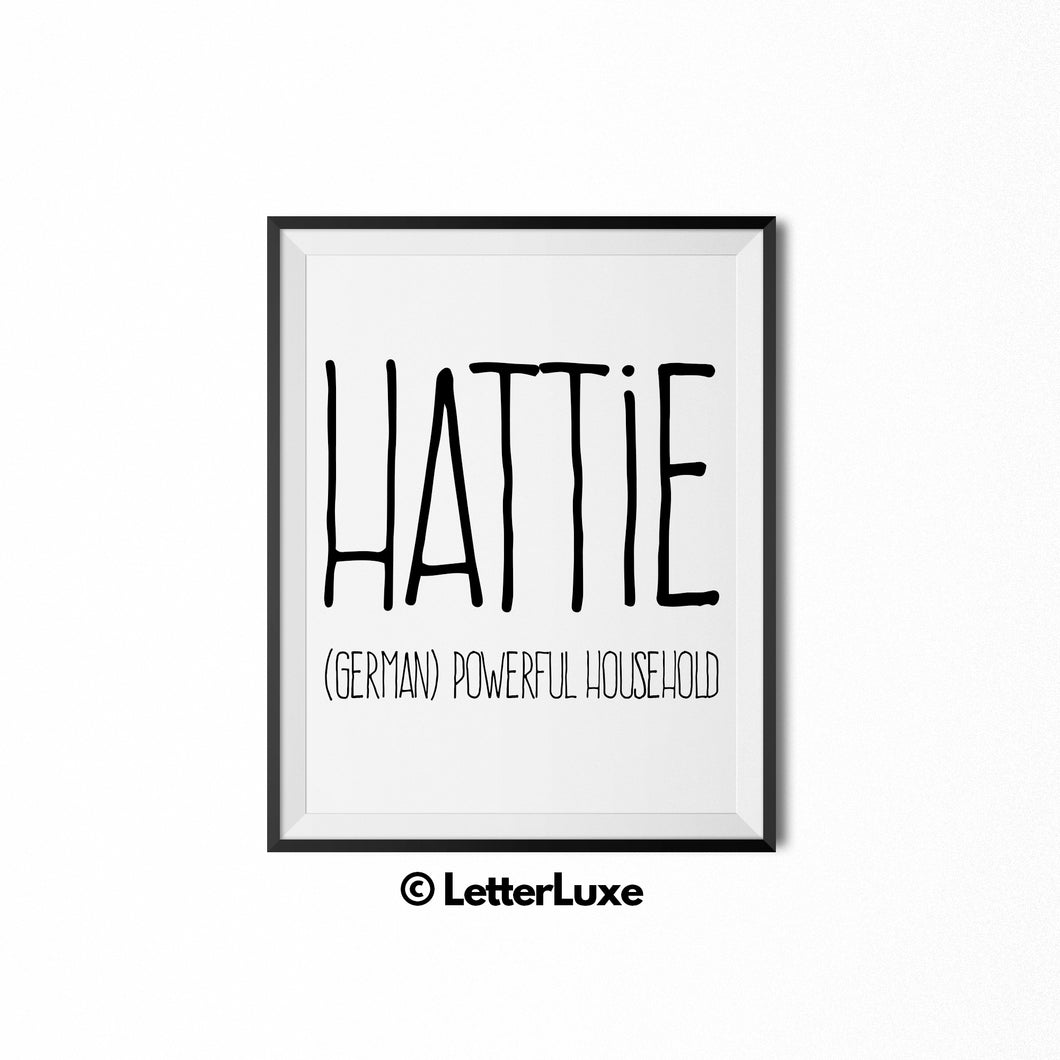 Hattie Name Meaning Wall Art - Nursery Decor for Girls - 1st Birthday Party Decorations