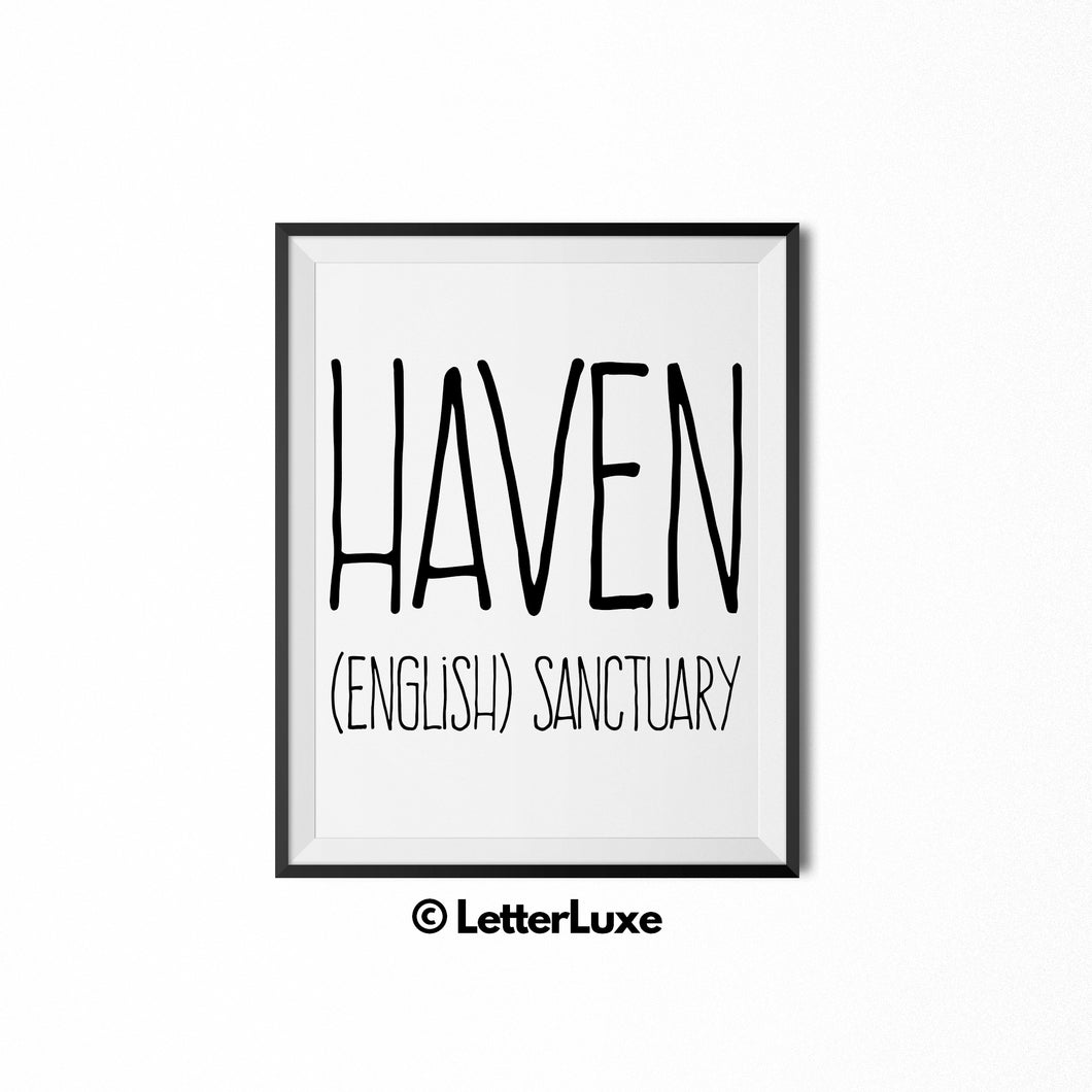 Haven Name Meaning Art - Printable Baby Shower Gift - Birthday Pary Decorations
