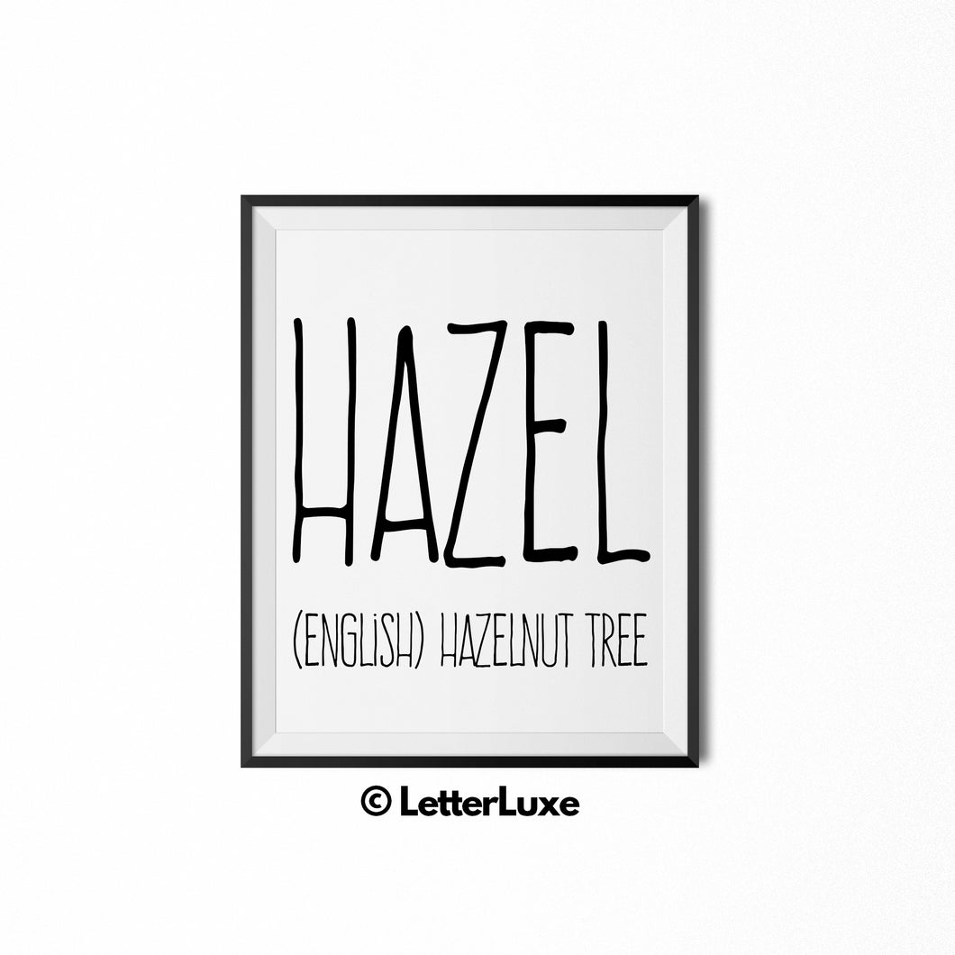 Hazel Name Meaning Art - Gallery Wall Decorations - Entryway Family Art - LetterLuxe