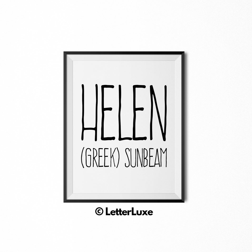 Helen Name Meaning Art - Printable Baby Shower Gift