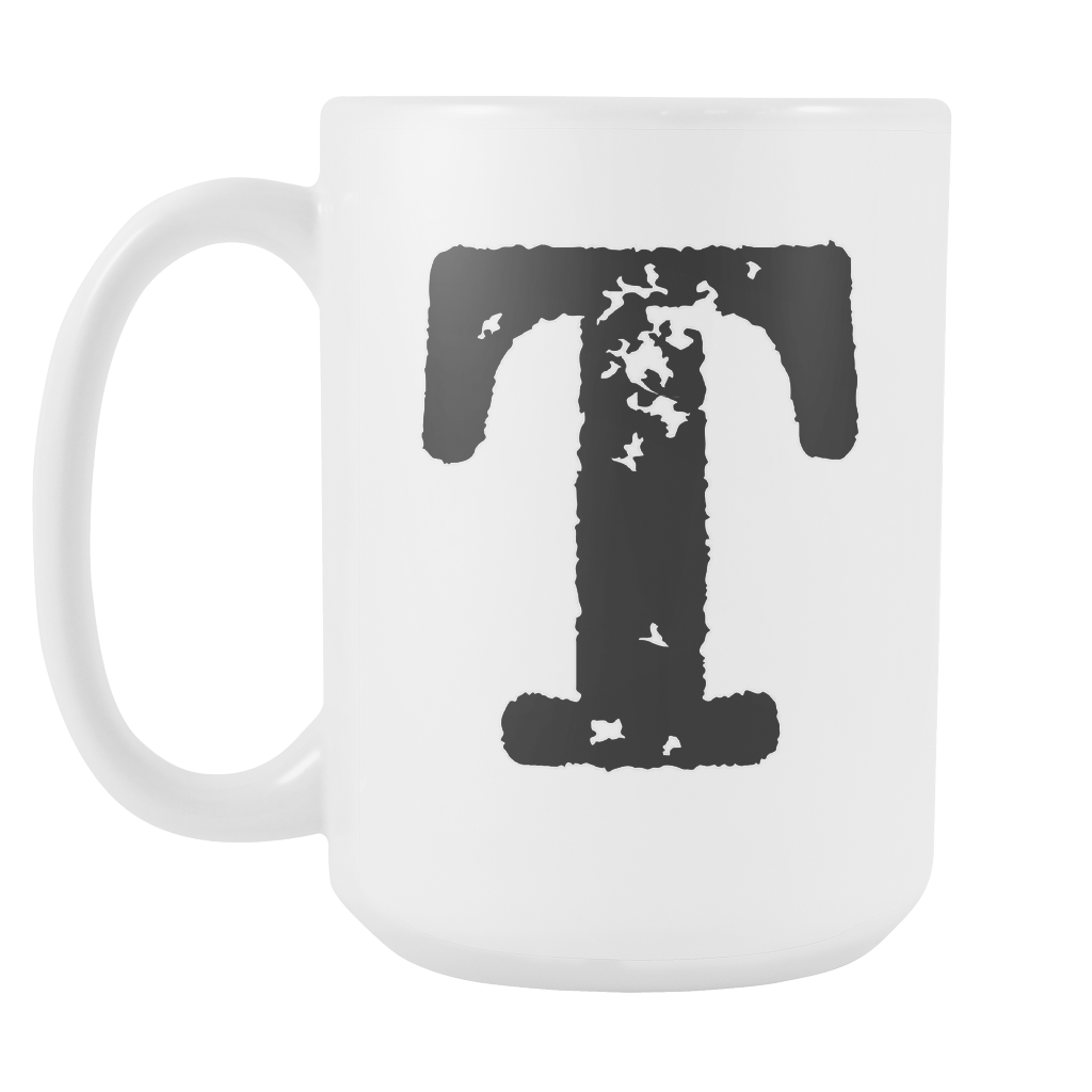 Initial Mug - Letter T - 15oz Ceramic Cup - Granddad Gift Mug - Right-Handed or Left-Handed Mug