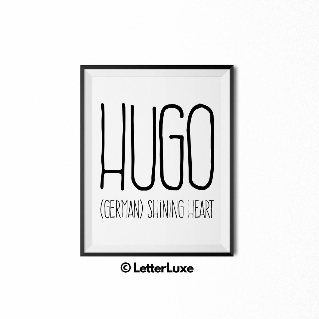 Hugo Printable Kids Gift - Baby Shower Gift - Birthday Party Decorations - LetterLuxe