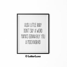 Hush Little Baby Nursery Decor - Typography Song Lyrics - LetterLuxe