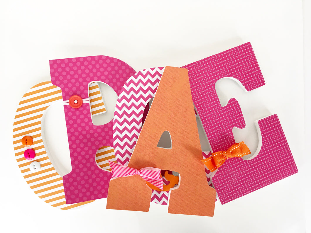 Pink & Orange Letter Set - Baby Girl Nursery Decor - LetterLuxe - LetterLuxe