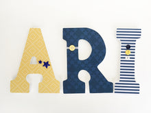Navy Blue & Yellow Letter Set - Alligator Nursery Decor - LetterLuxe