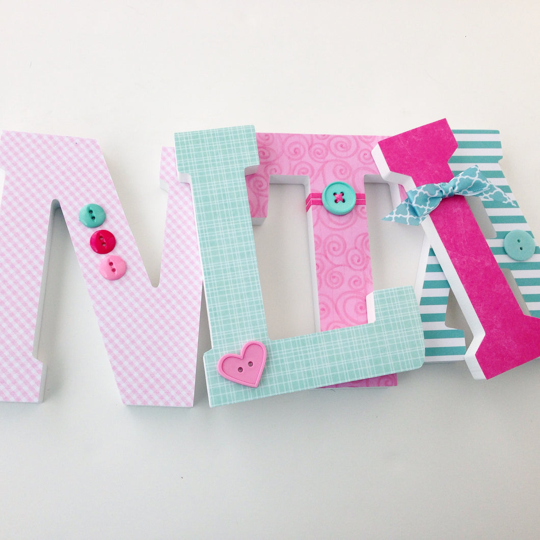 Teal & Pink Letter Set - Baby Girl Nursery Decor - LetterLuxe - LetterLuxe