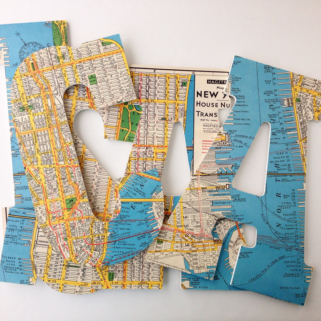 NYC Map Letter Set - New York City Travel Nursery Wall Decorations - LetterLuxe - LetterLuxe