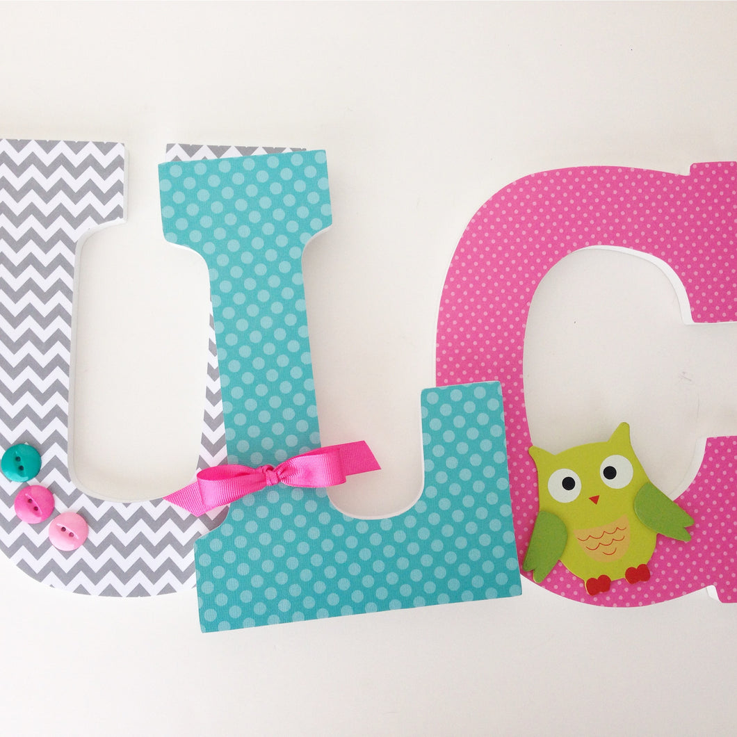 Teal, Pink, & Gray Letter Set - Baby Girl Nursery Decor - LetterLuxe - LetterLuxe