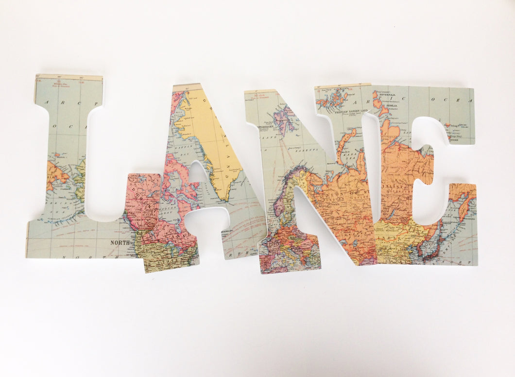 World Map Letter Set - Travel Nursery Wall Decorations - LetterLuxe