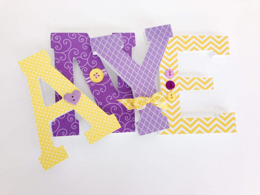 Purple & Yellow Letter Set - Baby Girl Nursery Decor - LetterLuxe - LetterLuxe