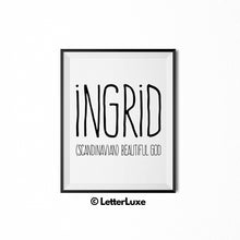 Ingrid Name Meaning Art - Gallery Wall Decorations - Entryway Family Art - LetterLuxe