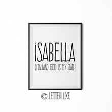 Isabella Name Meaning Art - Birthday Gift - LetterLuxe