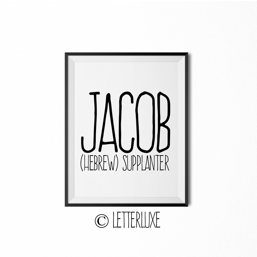 Jacob Printable Kids Decor - Baby Shower Decoration Idea