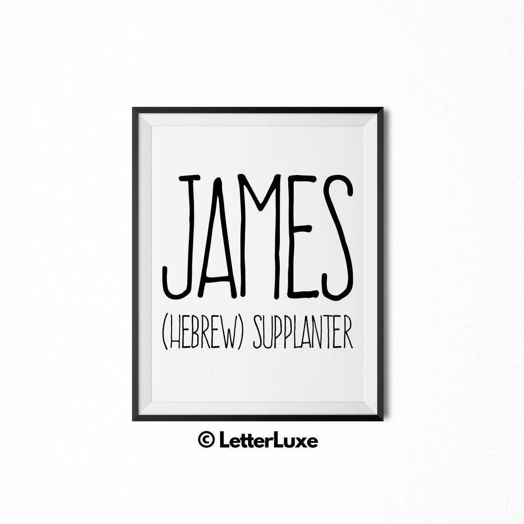 James Personalized Nursery Decor - Baby Shower Decorations - LetterLuxe