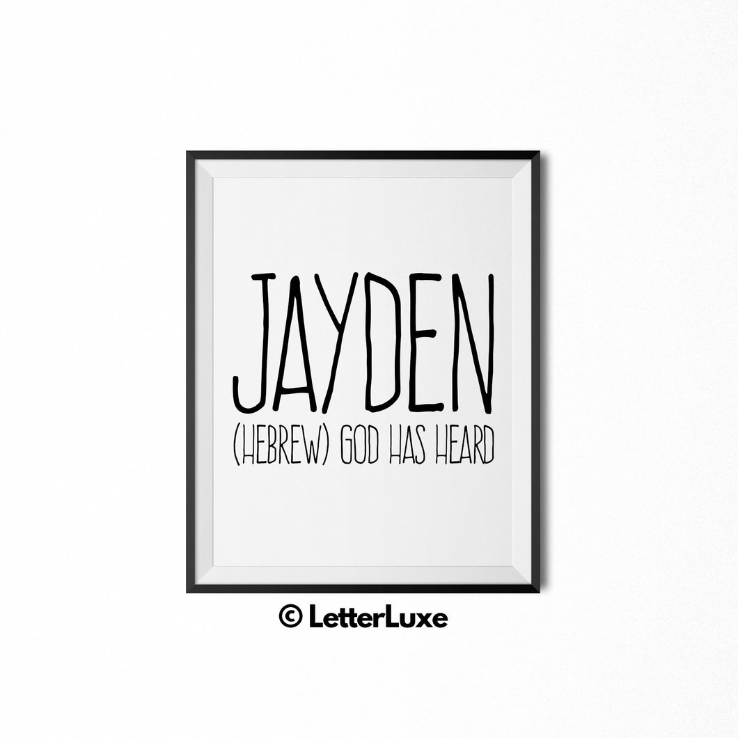 Jayden Name Meaning Wall Art - Printable Baby Shower Gift - LetterLuxe