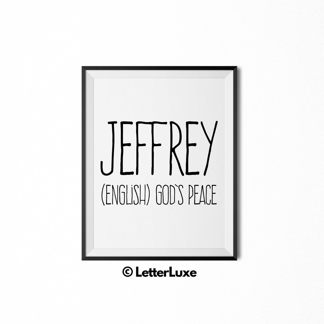 Jeffrey Printable Kids Gift - Baby Shower Gift - LetterLuxe