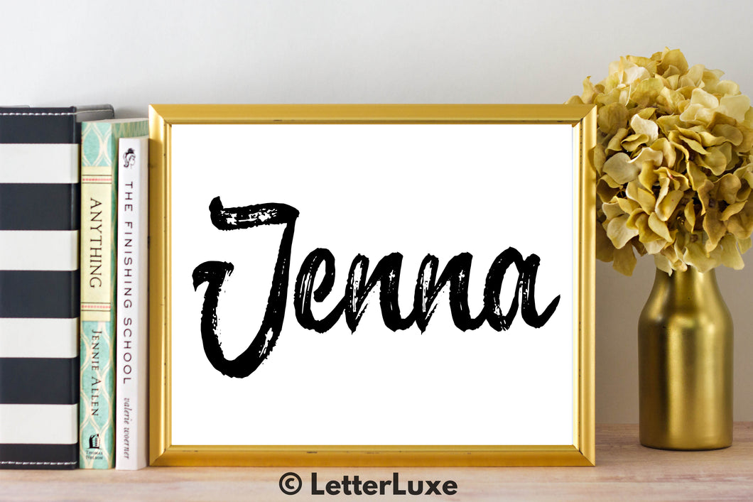 Jenna Name Art - Printable Gallery Wall - Romantic Bedroom Decor - Living Room Printable - Last Minute Gift for Mom or Girlfriend