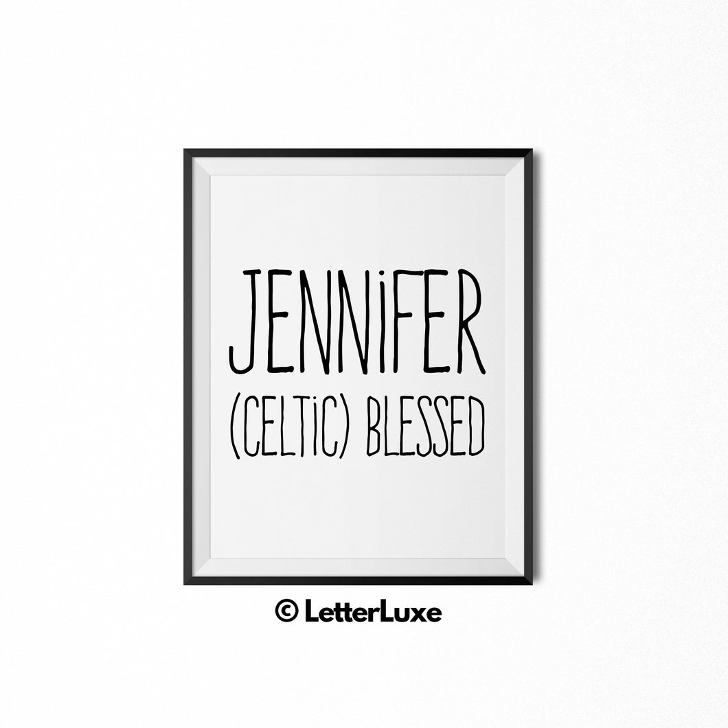 Jennifer Name Meaning Art - Printable Baby Shower Gift - LetterLuxe