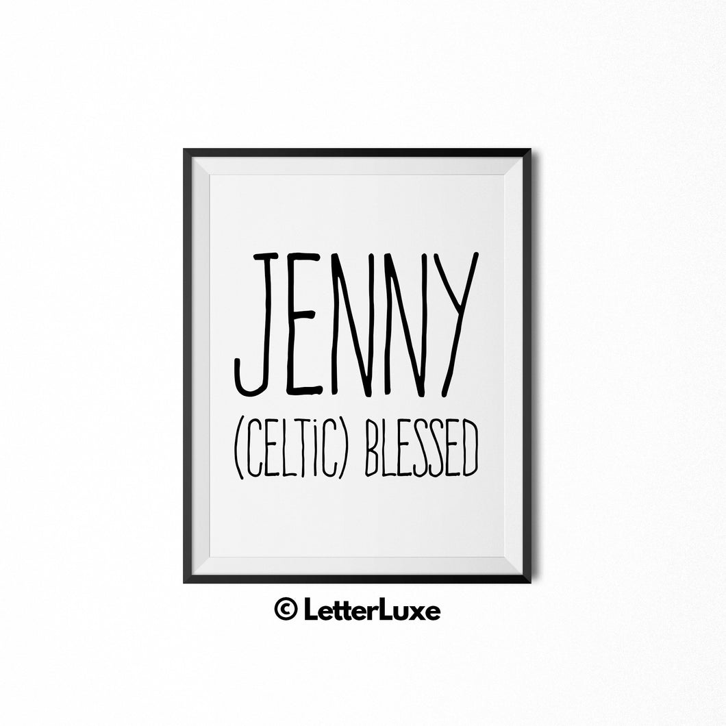 Jenny Name Meaning Art - Printable Birthday Party Decoration Ideas - LetterLuxe