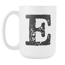 Initial Mug - Letter E - 15oz Ceramic Cup - Co-Worker Gift Mug - Right-Handed or Left-Handed Mug - LetterLuxe