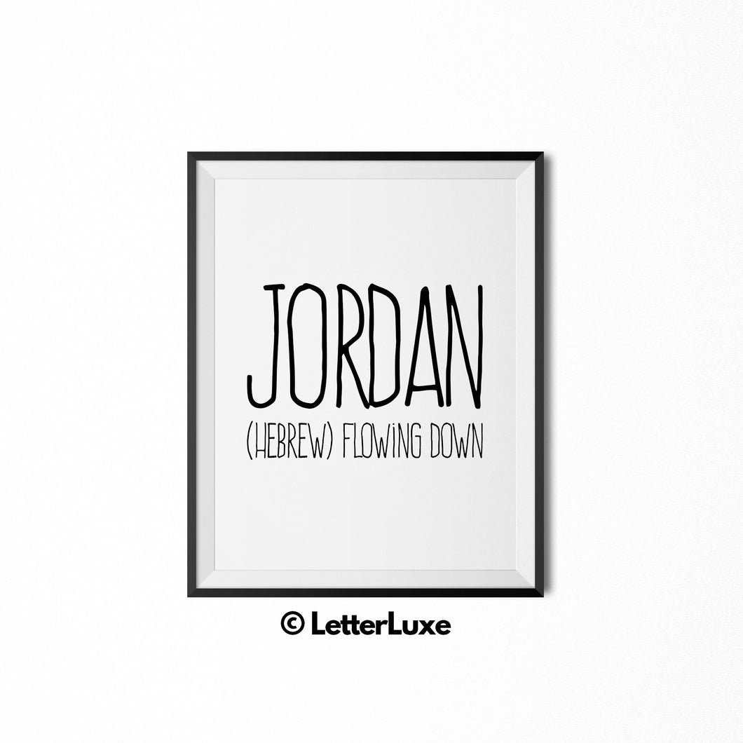 Jordan Name Meaning Art - Digital Print - LetterLuxe