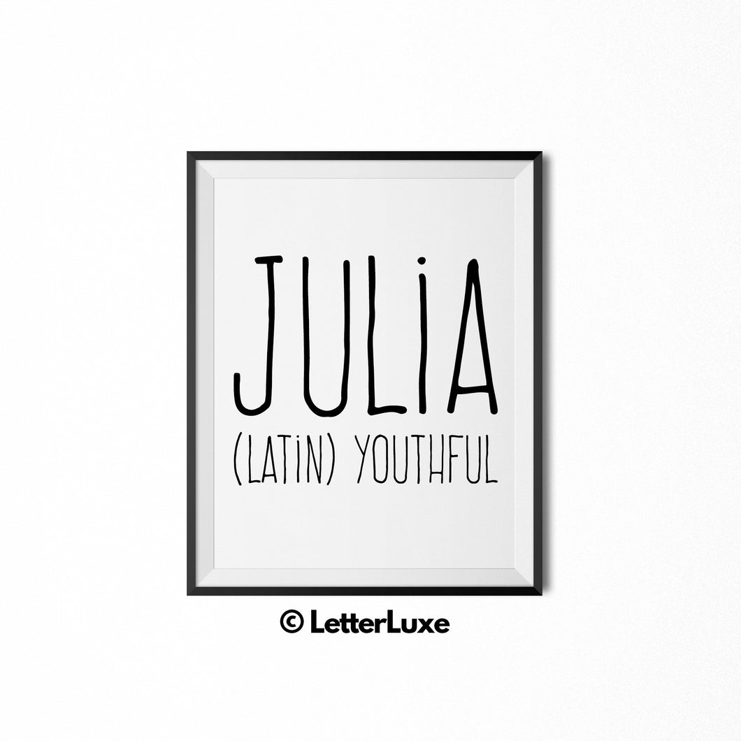 Julia Printable Bedroom Decor - Birthday Party Decoration Idea - LetterLuxe