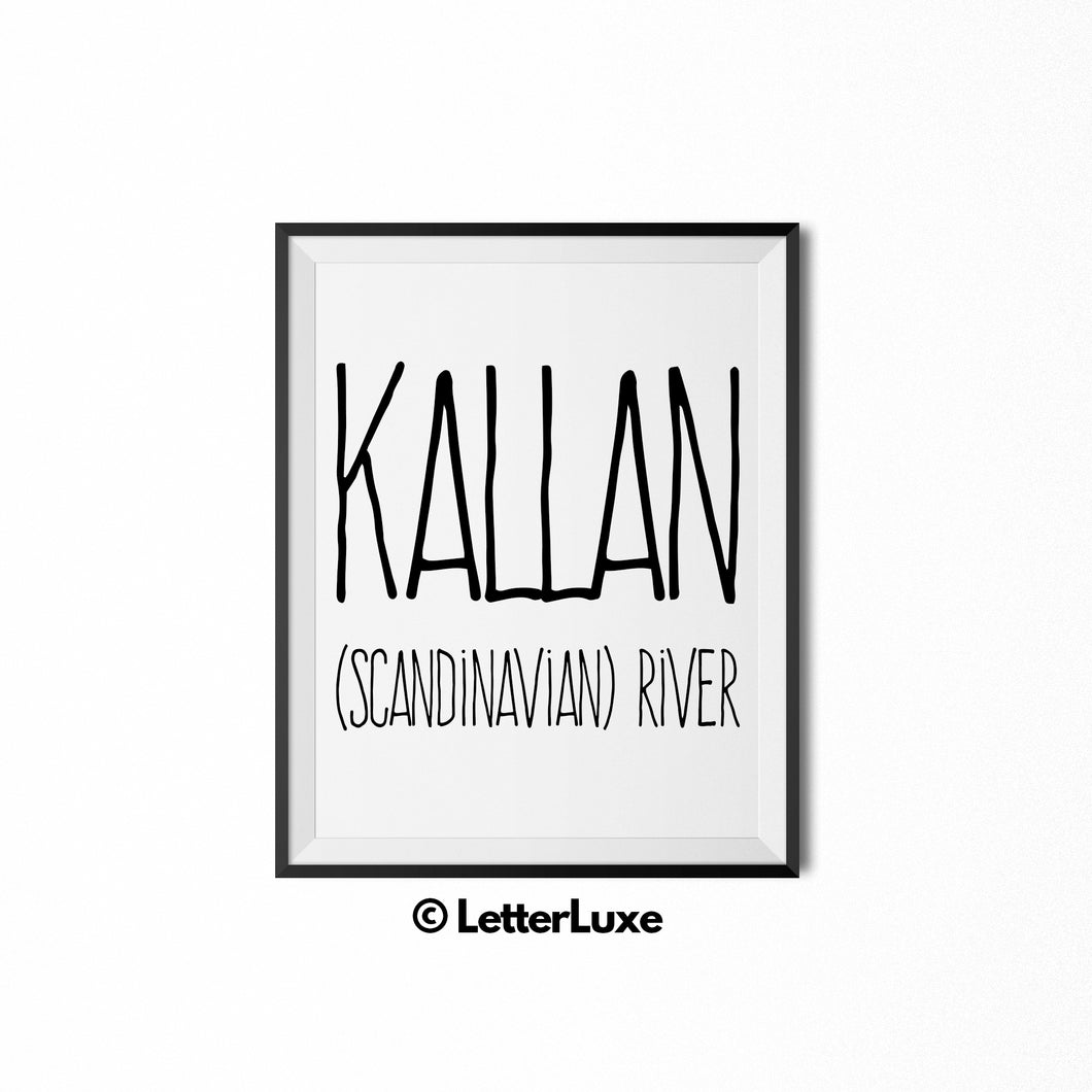 Kallan Name Meaning Wall Art - Nursery Decor for Boys - Father's Day Gift - LetterLuxe