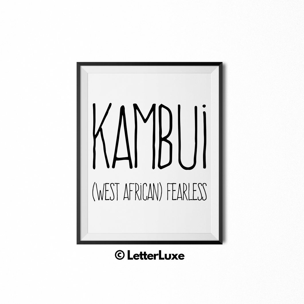 Kambui Name Meaning - Birthday Gift for Nephew, Uncle, Dad, Brother - Instant Download