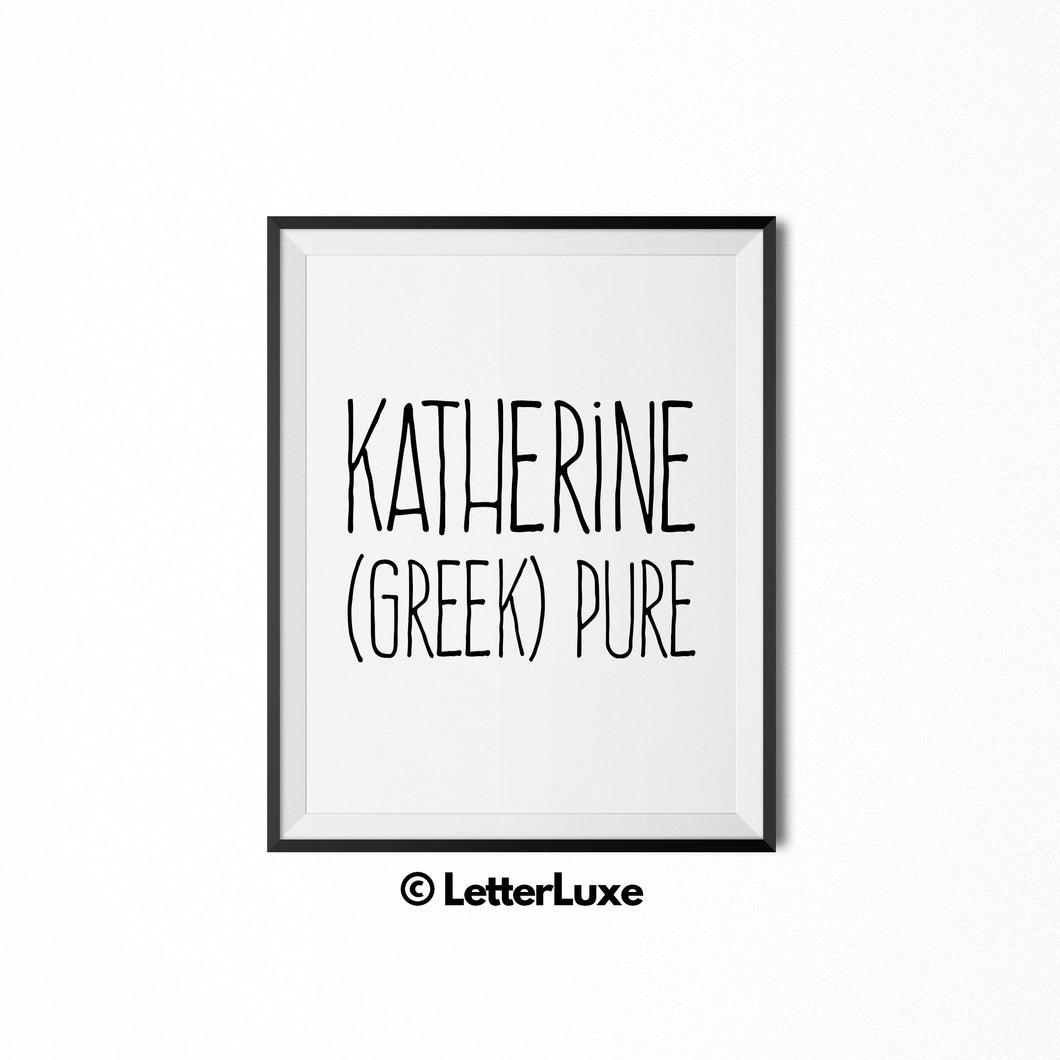Katherine Name Meaning Nursery Art