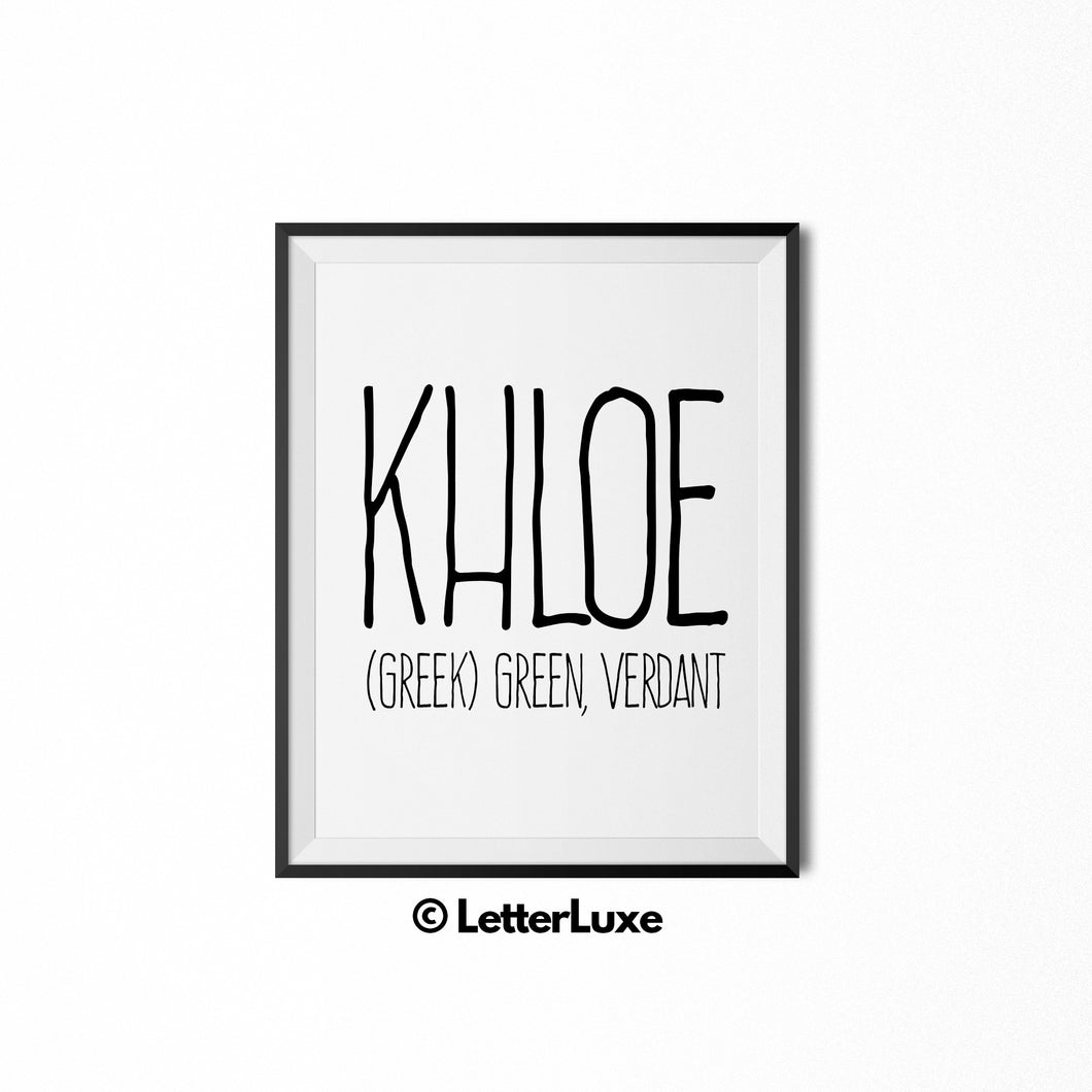 Khloe Name Meaning Art - Printable Birthday Gift - LetterLuxe
