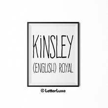 Kinsley Name Meaning Art - Gallery Wall Decorations - Entryway Family Art - LetterLuxe