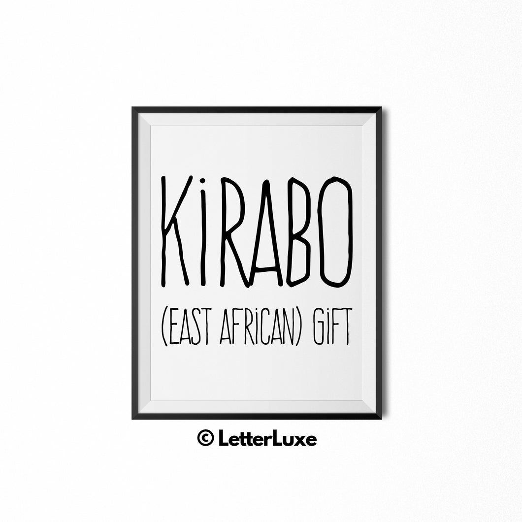 Kirabo Name Meaning - Birthday Gift for Nephew, Uncle, Dad, Brother - Instant Download - LetterLuxe