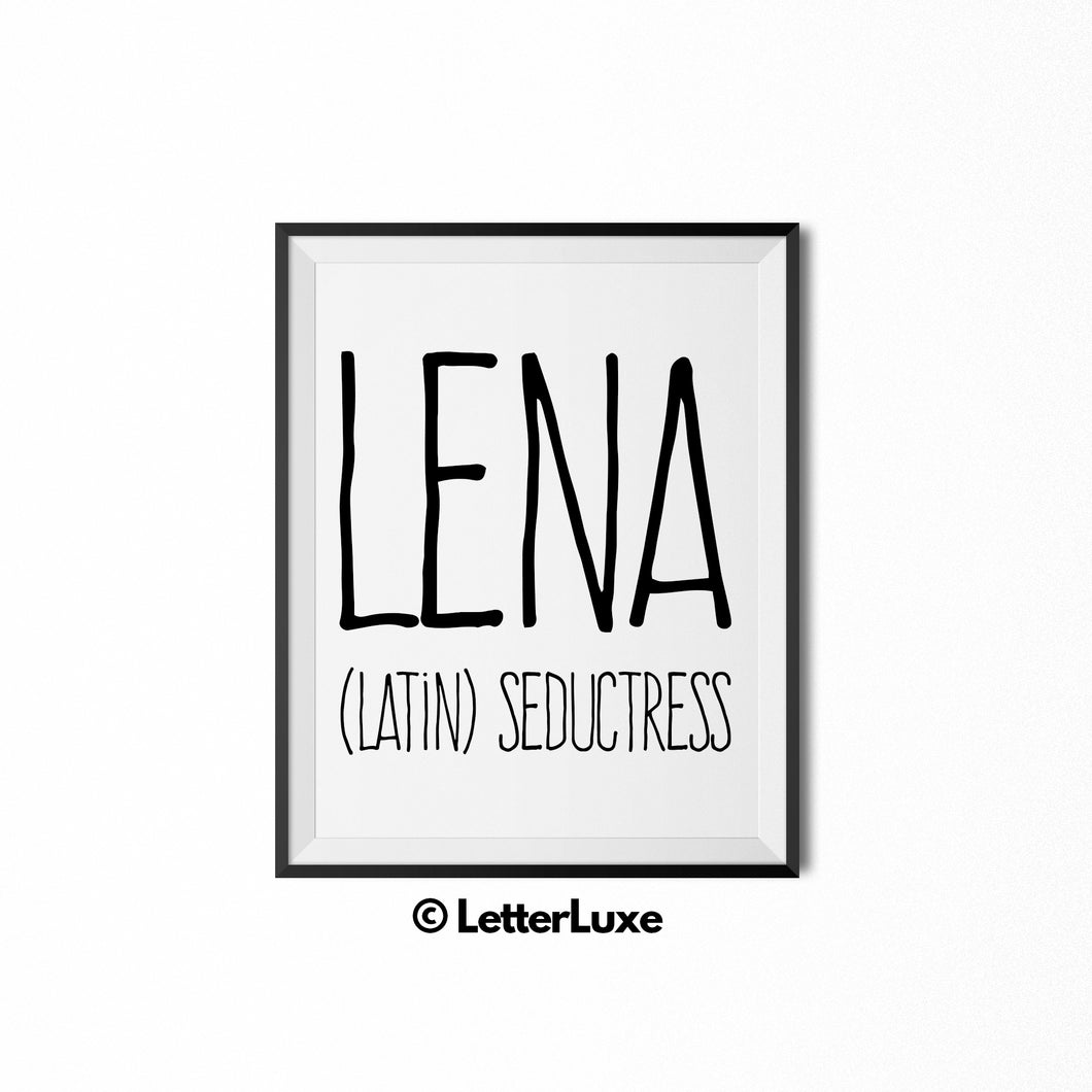 Lena Name Meaning Art - Printable Birthday Gift for Wife, Mom, Woman