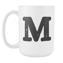 Initial Mug - Letter M - 15oz Ceramic Cup - Son-in-Law Gift Mug - Right-Handed or Left-Handed Mug - LetterLuxe