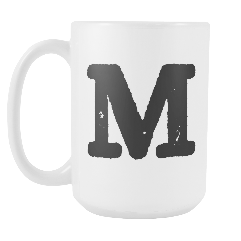 Initial Mug - Letter M - 15oz Ceramic Cup - Son-in-Law Gift Mug - Right-Handed or Left-Handed Mug