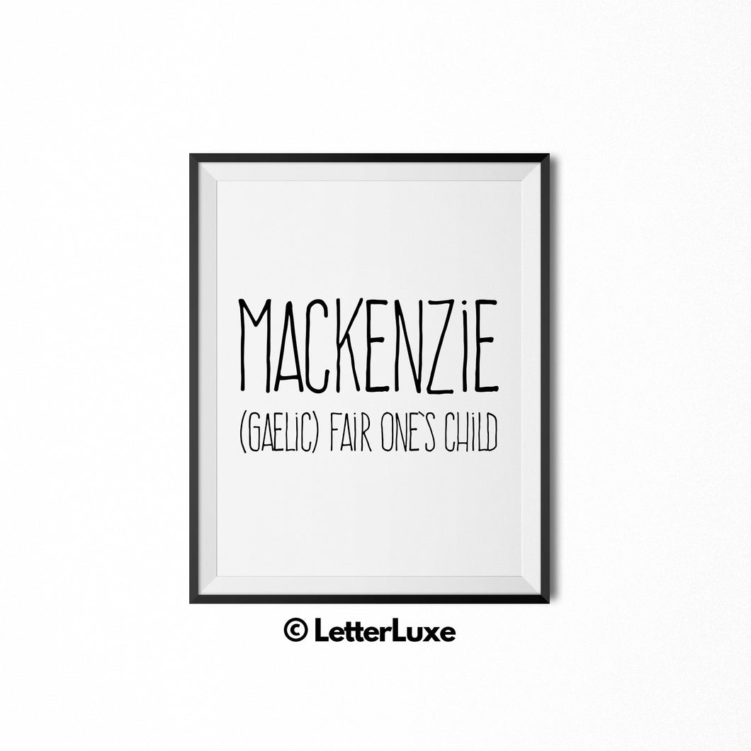 Mackenzie Digital Name Meaning Art