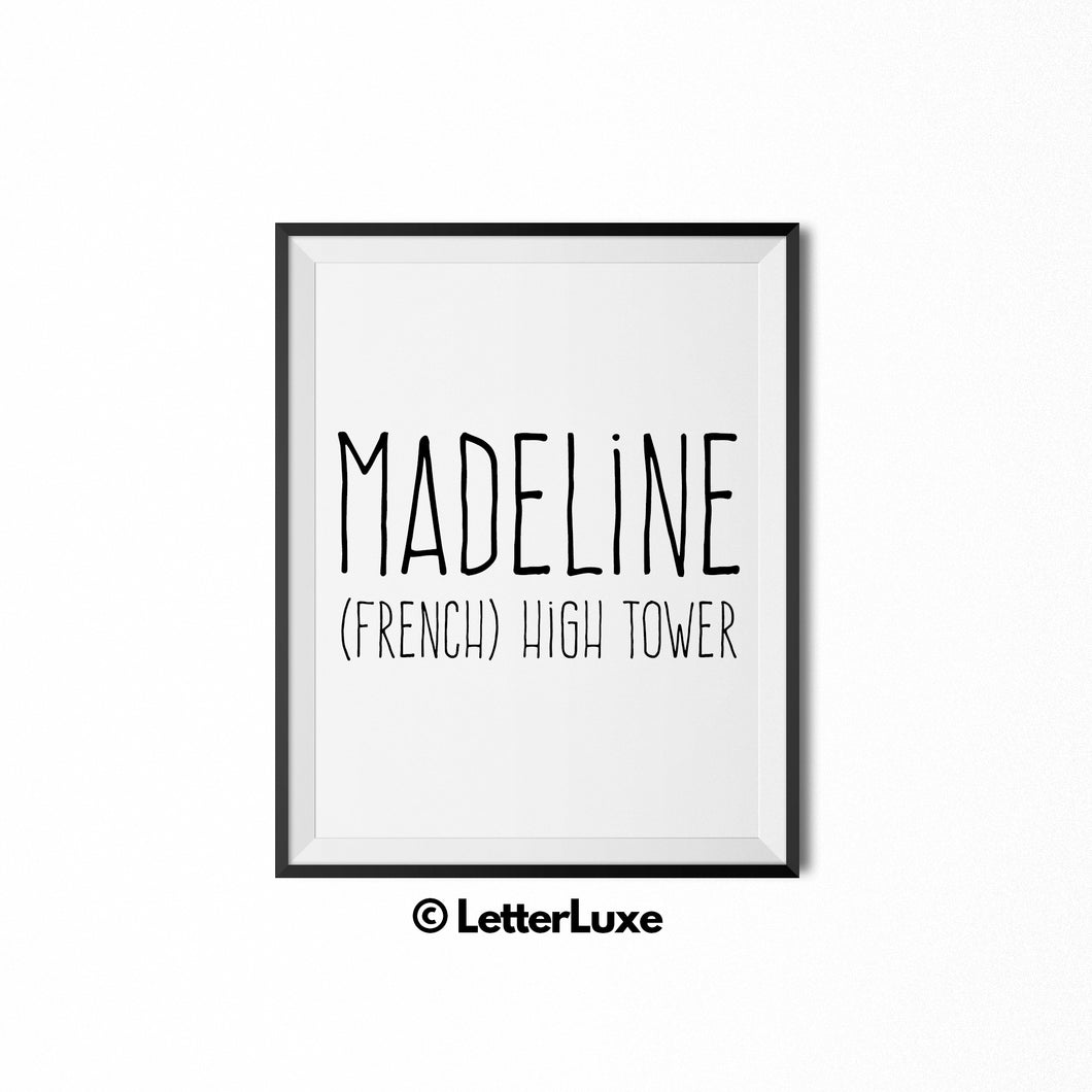 Madeline Name Meaning Art - Printable Birthday Gift for Mom