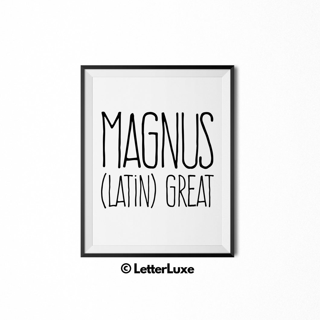 Magnus Name Meaning Art - Nursery Decor for Boys - LetterLuxe