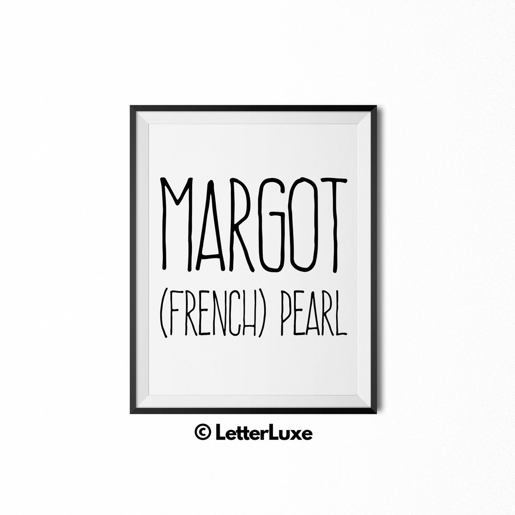 Margot Printable Bedroom Decor - Birthday Gift Idea for Girls - LetterLuxe